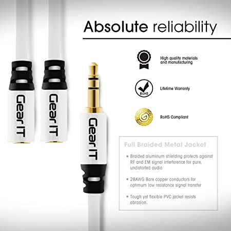 Amazon.com: 3.5mm Splitter, GearIT Pro Series (2-Pack) 6 Inch Premium Gold Plated 3.5mm Auxiliary Audio Stereo Y Headphone Splitter Extension Male to 2 x ...