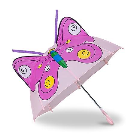 Relaxdays Paraguas Infantil de Mariposa en 3D, Poliéster-Plástico, Rosa, 59 x