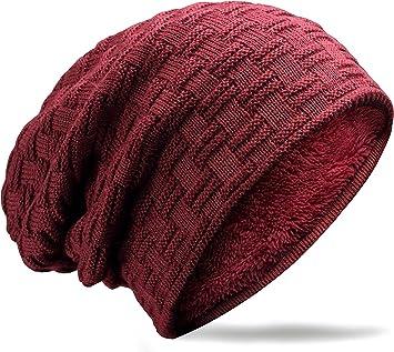 MUCO Gorros Hombre Mujer Unisex Invierno Cálido Sombreros de Punto Forro Polar Beanie gorro lTsknVz