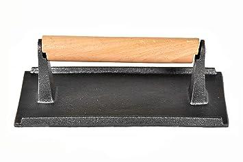 BonBon - Parrilla para Carne de Hierro Fundido con prensado de Peso para Barbacoa de bacón