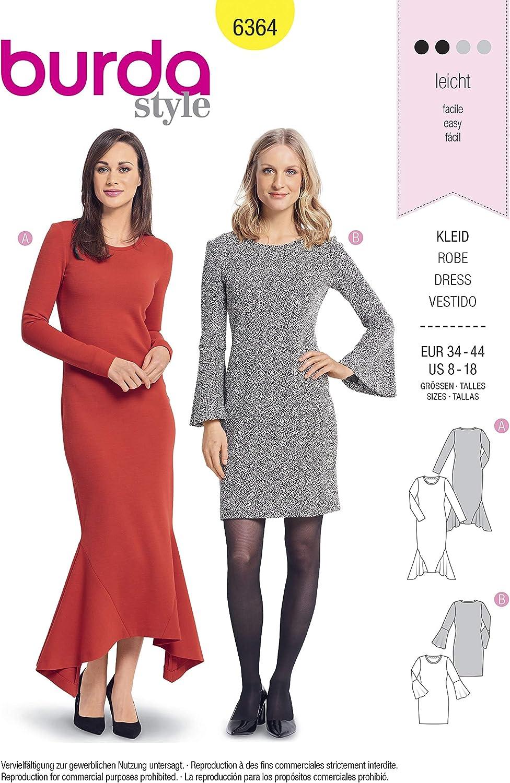 Level 3 mittel Burda 6164 Schnittmuster Kleid Damen, Gr. 34-44