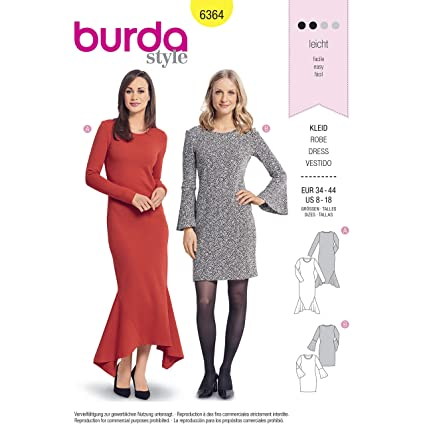 51d751cb Image Unavailable. Image not available for. Color: Burda Style Sewing  Pattern B6364 - Misses' Dresses ...