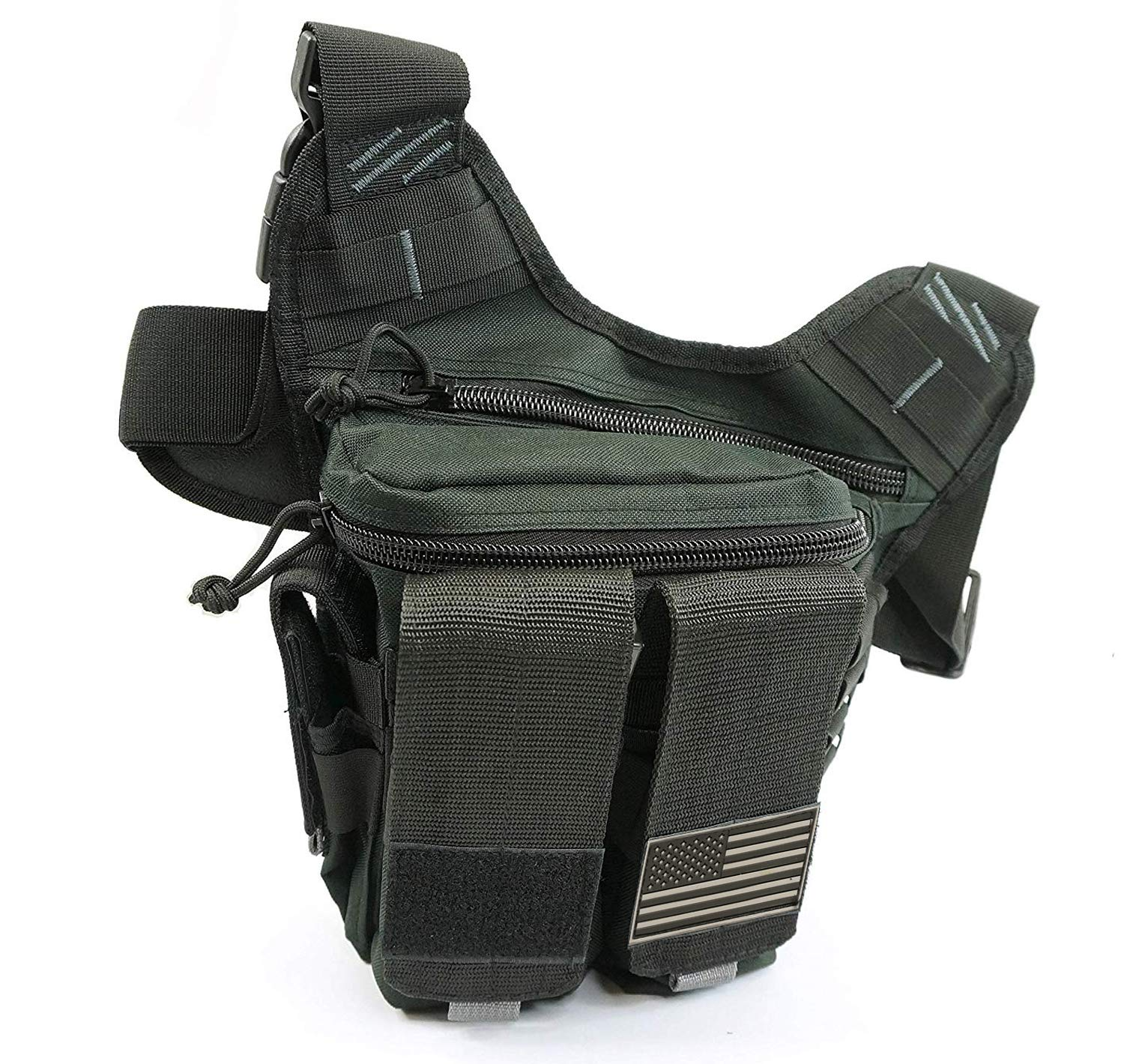 NiceAndGreat Tactical Bag Rapid Outdoor Range Sling Pack for Handguns and Pistols Quality Chest Pack Holster Included (Black) by NiceAndGreat