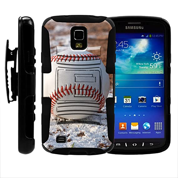 wholesale dealer 0a076 446c6 Samsung S4 Active Case, Holster, Hard Rugged Armor w/Kickstand - Baseball  Sports Collection - for Samsung Galaxy S4 IV Active I9295, SGH-I537 by ...
