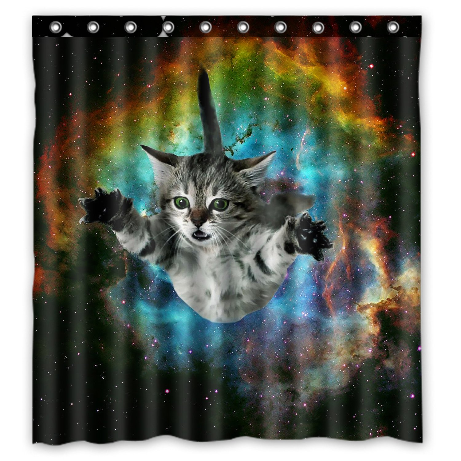 Space Cat Water-Proof Polyester Fabric (66 x 72 ) Shower Curtain Space Cat Shower Curtain COMIN16JU043624