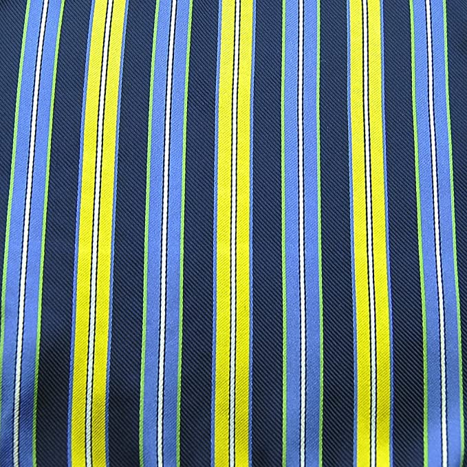 PenSee 100/% Silk Woven Navy /& Yellow /& Multi-color Stripe Pocket Square
