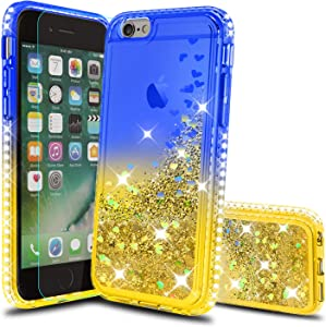 iPhone SE 2020 Case, iPhone 8 Case, iPhone 7 Case, iPhone 6s / 6 Case with HD Screen Protector for Girls Women, Atump Glitter Phone Case for Apple iPhone 6/ 6s/ 7/8 Blue/Yellow