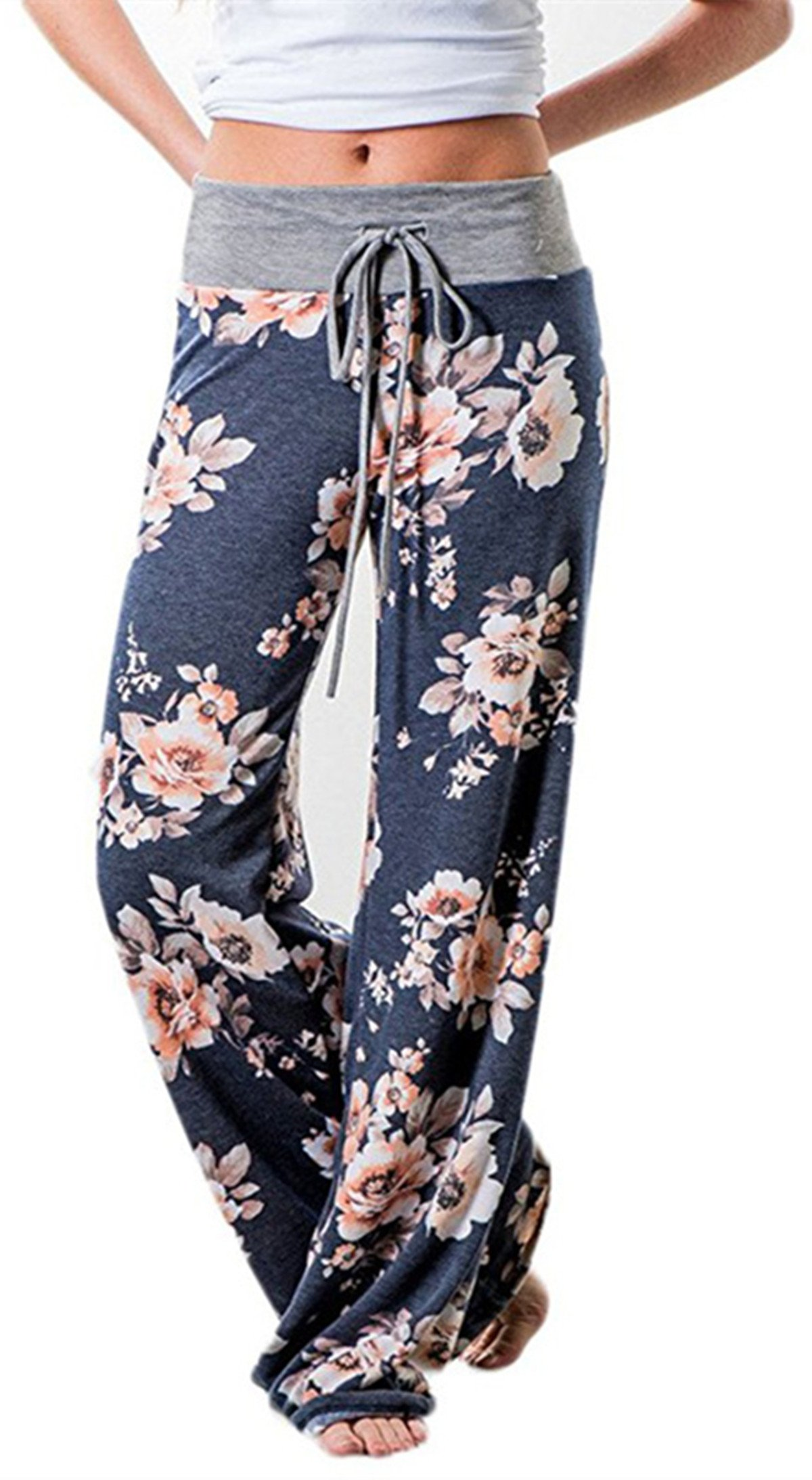 Sexymee Women's Floral Print High Waist Drawstring Casual Pajama Wide Leg Palazzo Lounge Pants Yoga