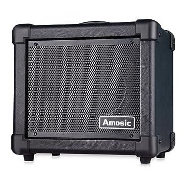 Amosic Amplificador de Guitarra Eléctrica 10W, Amplificador de Guitarra Combinado Alimentado por Baterías/Adaptador