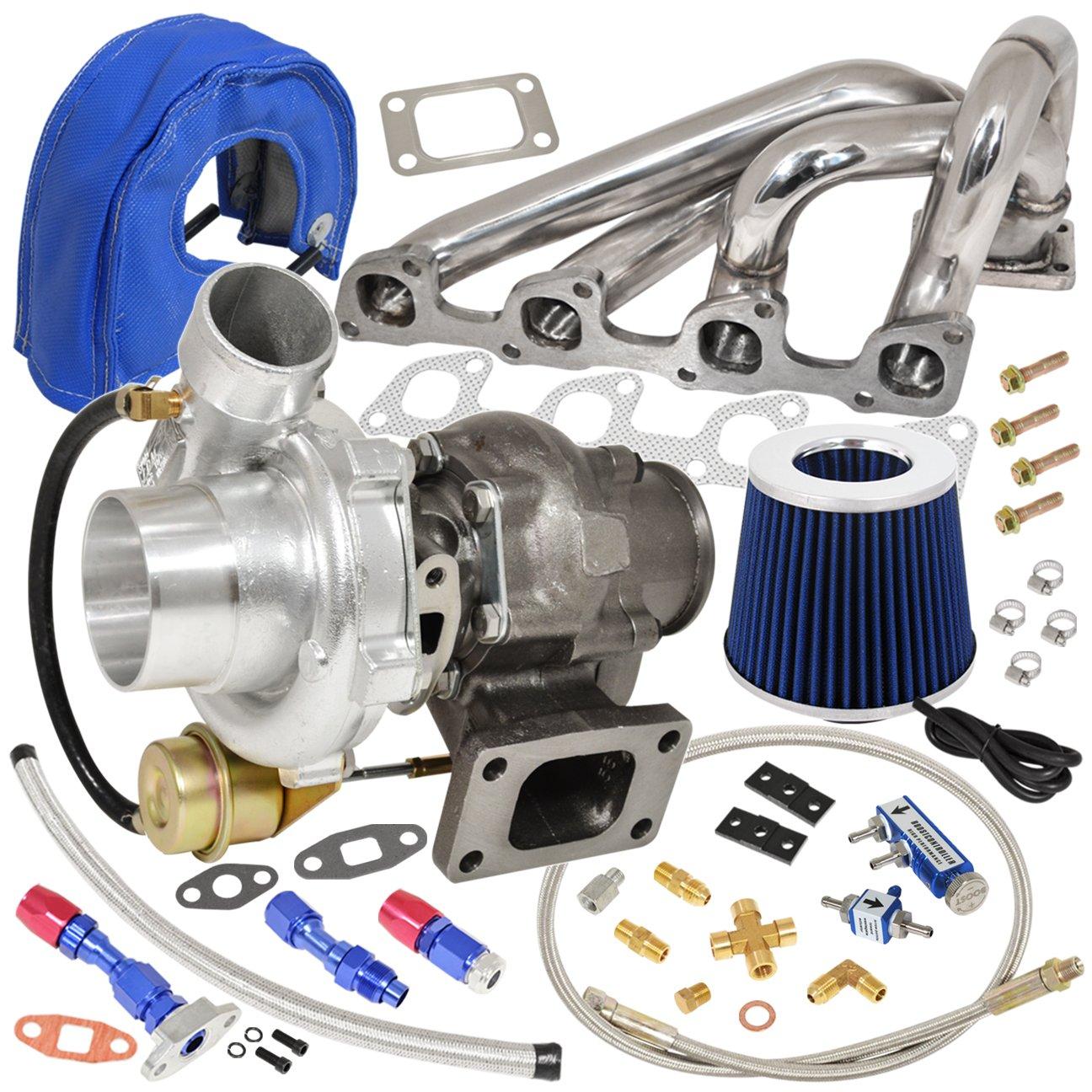 Volve 240 740 940 2.3L N/A Motor colector acero inoxidable + T3/T4 V-Band refrigerado por aceite turbo cargador con interior wastegate + filtro de aire + ...