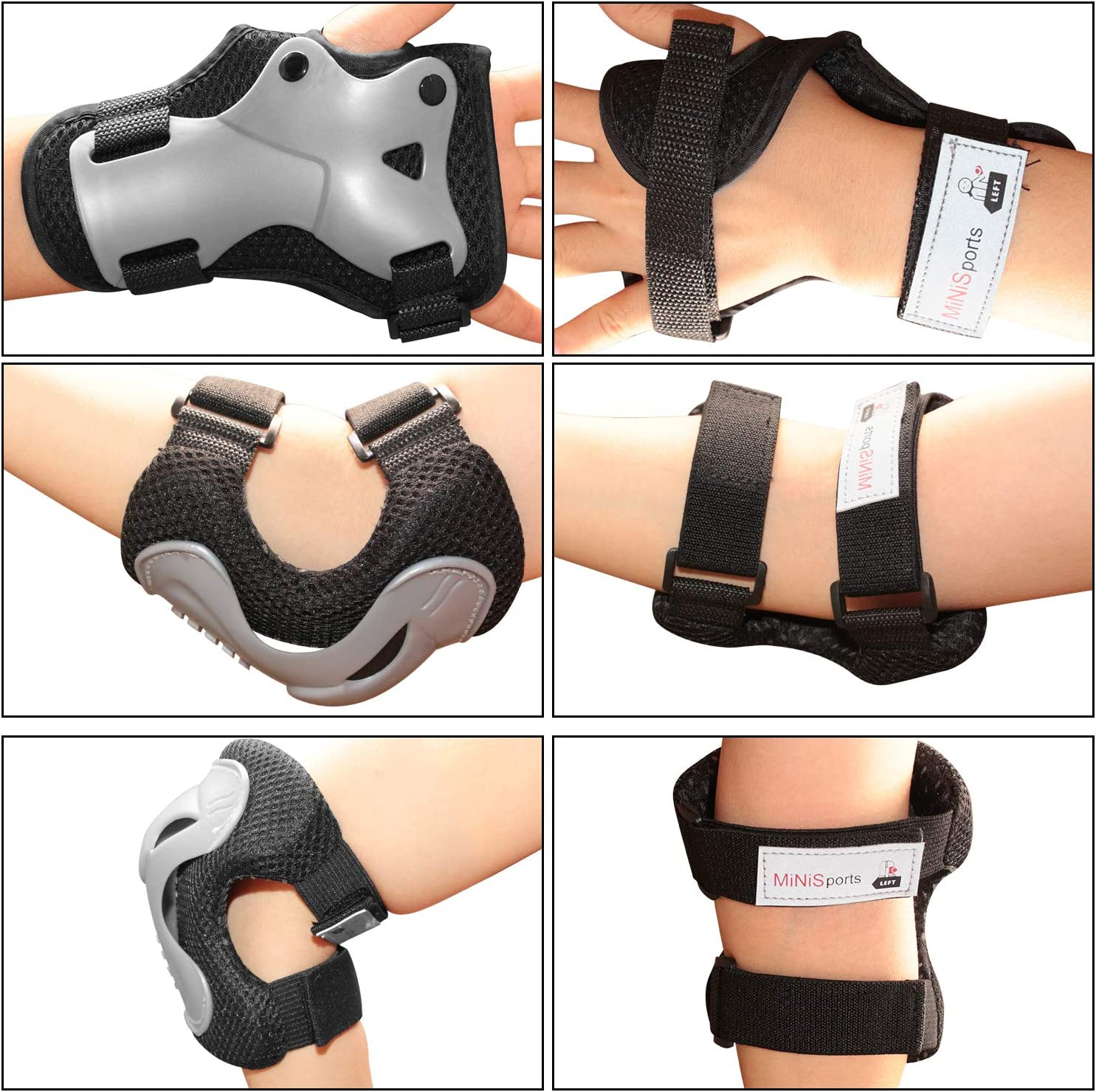 Toddler Knee and Elbow Pads with Wrist Guards for Rollerblade Roller Skates Cycling BMX Bike Skateboard Inline Skatings Scooter Riding Sports XUCOO Kids Protective Gear 6 in 1 Set