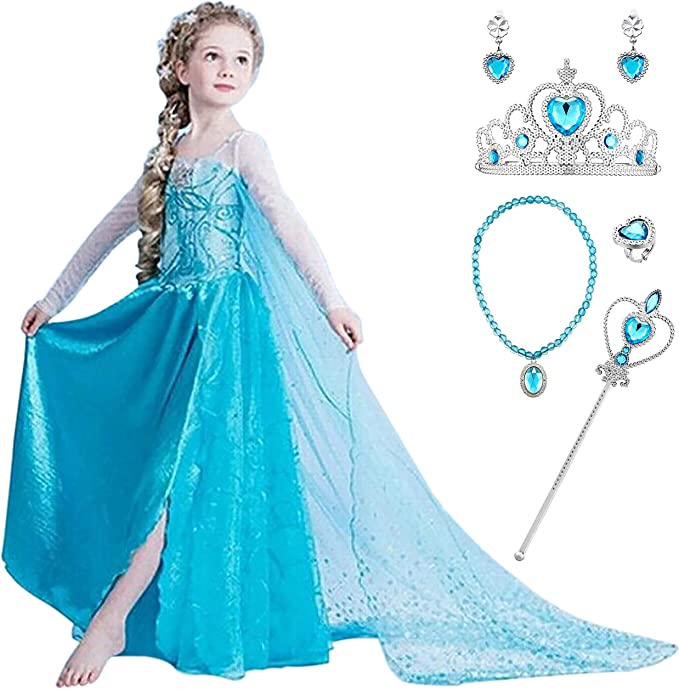 YOSICIL Niña Princesa Disfraz Frozen Elsa con Accesorios 5PC ...