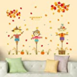 Solimo Wall Sticker for Kids' Room (Scarecrow Stories, Ideal Size on Wall: 124 x 100 cm)