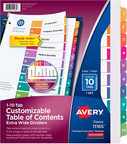 """8 Tab s 8 // 9/"""" X 11/"""" Blank //set Avery Index Maker Extra-wide Tab Divider"""