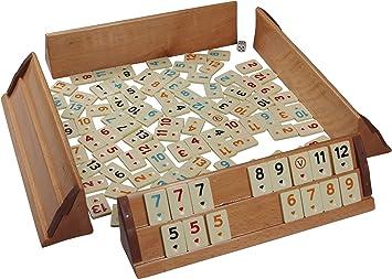 Okey - Juego de mesa para 4 jugadores, madera maciza con piedras de melamina para adultos y jóvenes: Amazon.es: Juguetes y juegos
