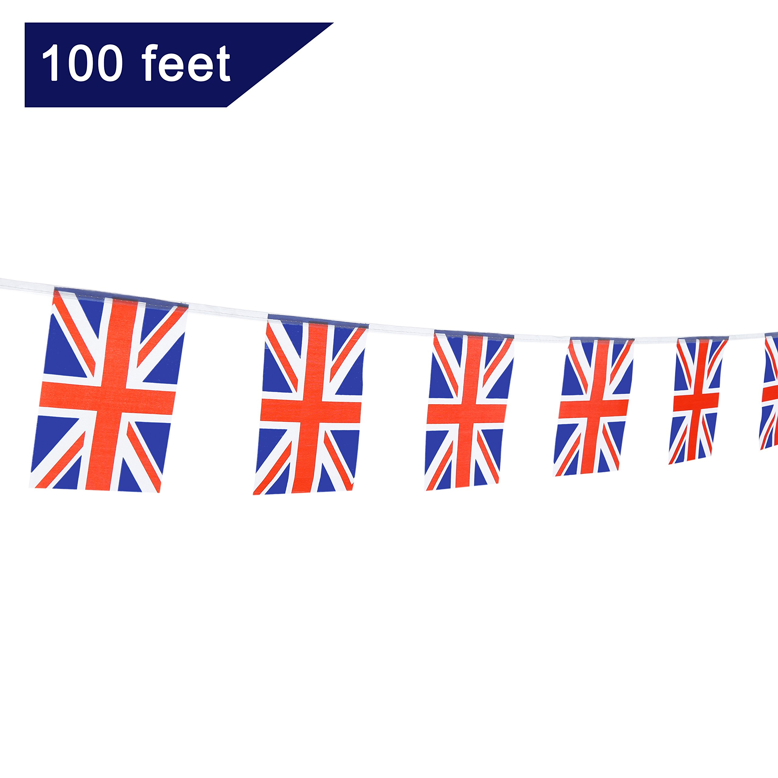 TSMD 100 Feet United Kingdom UK Flag 76Pcs Indoor/Outdoor British Union Jack National Country Flags,Party Decorations Supplies For Grand Opening,Sports Clubs,International Festival,(8.2'' x 5.5'')