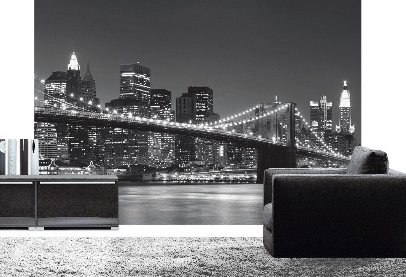 Fototapete skyline schwarz weiß  Fototapete Nighttime Manhattan 366 x 254 cm Tapete Schwarz Weiß ...