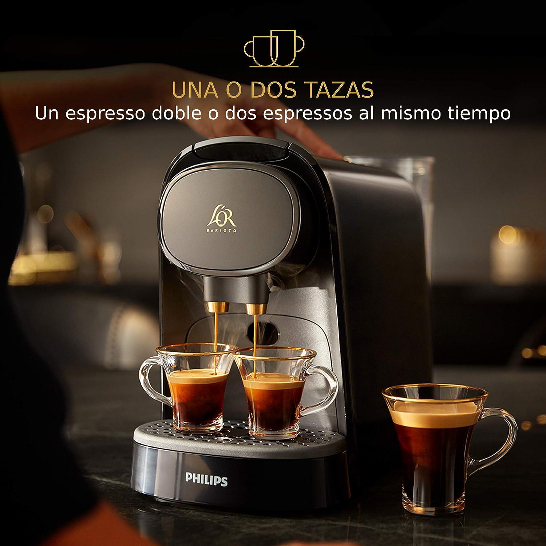 Philips LOR Barista LM8012/60 - Cafetera compatible con cápsula individual/doble, 19 bares presión, depósito 1L, color negro