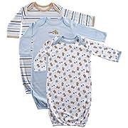 Luvable Friends Unisex 3 Pack Cotton Gown, Blue Puppy, 0-6 Months