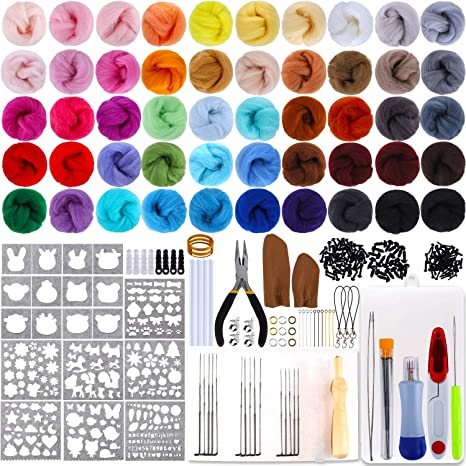 NEWSHRZ/_❤home Felting Kits for Beginners Adult Cute Penguin Pattern Handmade DIY Poke Wool Felts Wool Roving Fiber Spin for Needle Felting Hand Spinning DIY Needle Felting Supplies Craft Kit A