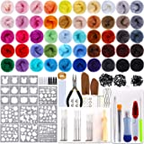 Outkitkit Needle Felting Kit, 50 Colors Wool Roving Set with Complete Wool Felt Tools Wool Yarn Supplies for Starters