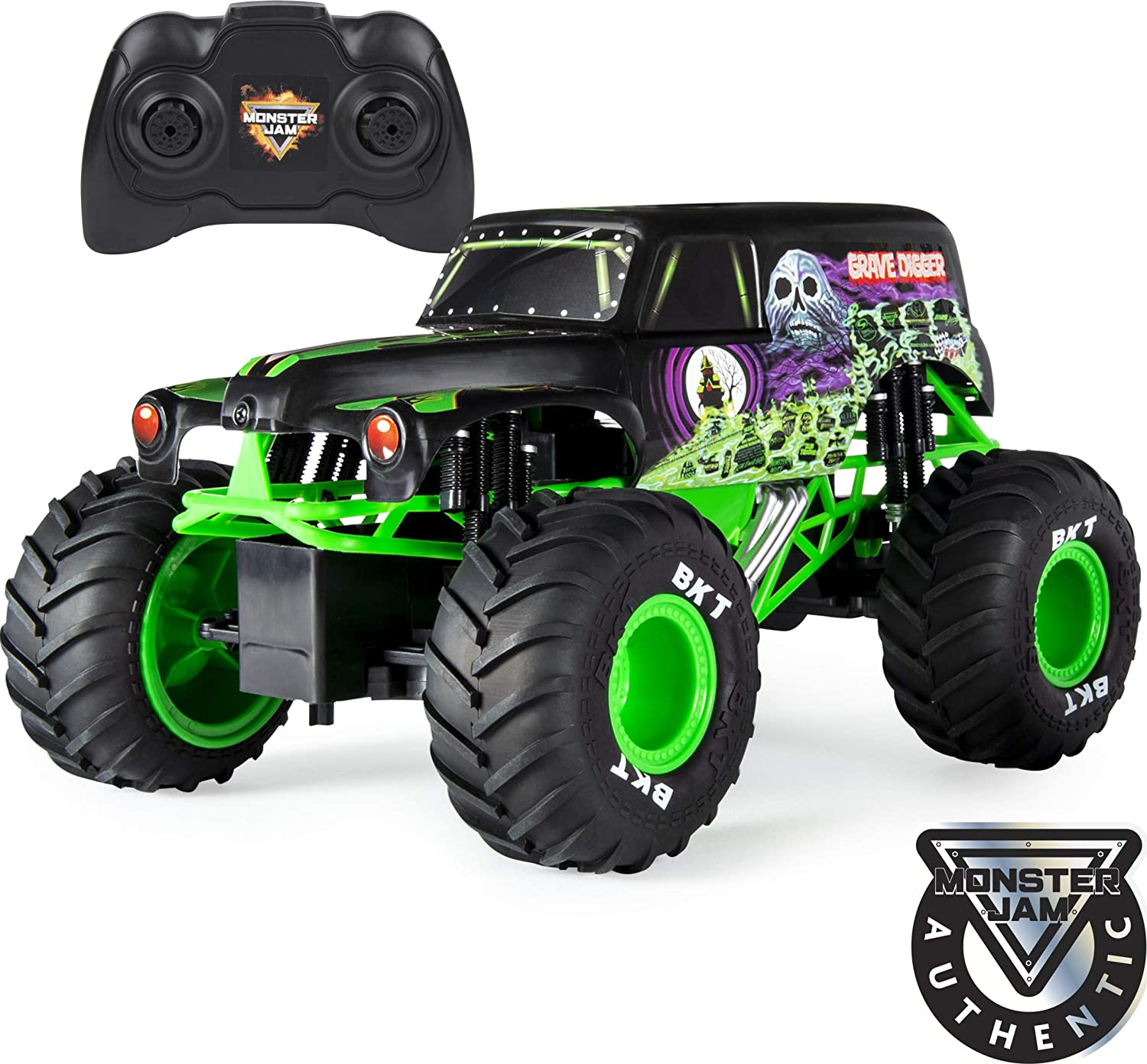 Amazon Com Monster Jam Official Grave Digger Remoter Control Monster Truck 1 15 Scale 2 4ghz Toys Games