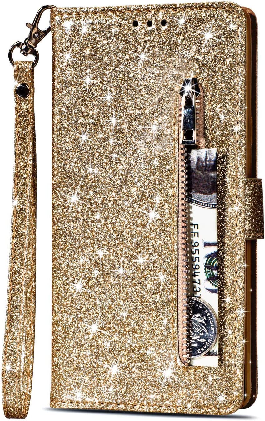 Artfeel Reißverschluss Brieftasche Hülle Für Samsung Galaxy S9 Plus Bling Glitzer Leder Handyhülle Mit Kartenhalter Flip