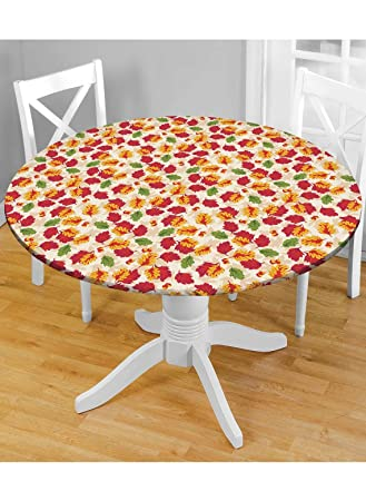 Holiday Fitted Vinyl Tablecloths   48u0026quot; Round, Autumn Leaves