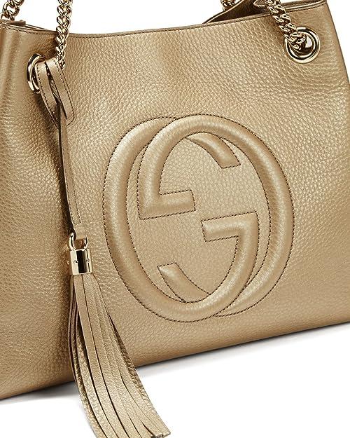 057e49cd9 Amazon.com: Gucci Soho Metallic Chain Medium Tote Golden Beige Leather New  Bag: Shoes