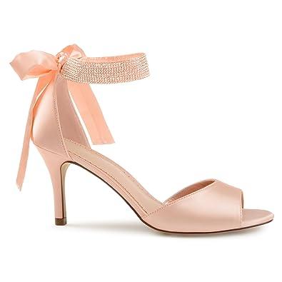 8c386ec8e463c Belvie Satin Rhinestone Ankle Strap Open-Toe High Heels Pink