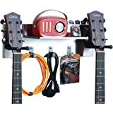 shinar Stainless Steel Double Guitar wall Hanger Guitar Holder Wall Mount,Bracket Holder for Acoustic and Electric Guitars wi