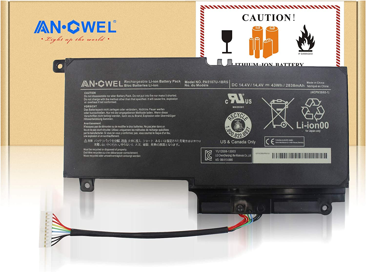 Angwel 14.4V 43Wh PA5107U-1BRS Replacement Battery for Toshiba L45D L50 L55 P55 L55t P50 Series Laptop P55-a5312 P55T-A5116 S50D-A L50-A S50T-A116 S55-A5275 L55t-A5290 P000573230-1 Year Warranty