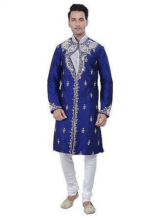 2b00eb3e4c Rajwada Indian Design Royal Blue Kurta Sherwani for Men 2pc Suit (M (38)