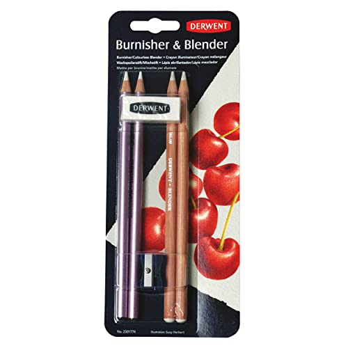 Derwent 2301774 Blender and Burnisher Pencil Blister Pack, Set of 4, Eraser and Sharpener Included, Professional Quality, 2301774