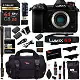 "Panasonic Lumix G9 Mirrorless Camera Body 20.3 MP G9KBODY, Polaroid 64GB High Speed SD Card U3, Polaroid 72"" Monopod, Spare Battery, Battery Charger, Ritz Gear Cleaning Kit Accessory Bundle"