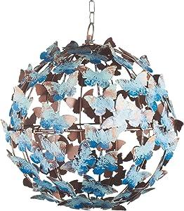 ART & ARTIFACT Hanging Butterflies Sphere - Iron Orb Garden Accent, String Light Holder Cage