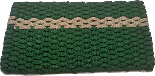 Rockport Rope Doormats 2034395 Indoor Outdoor Doormats, 20 x 34 , Green with offset Tan Stripe