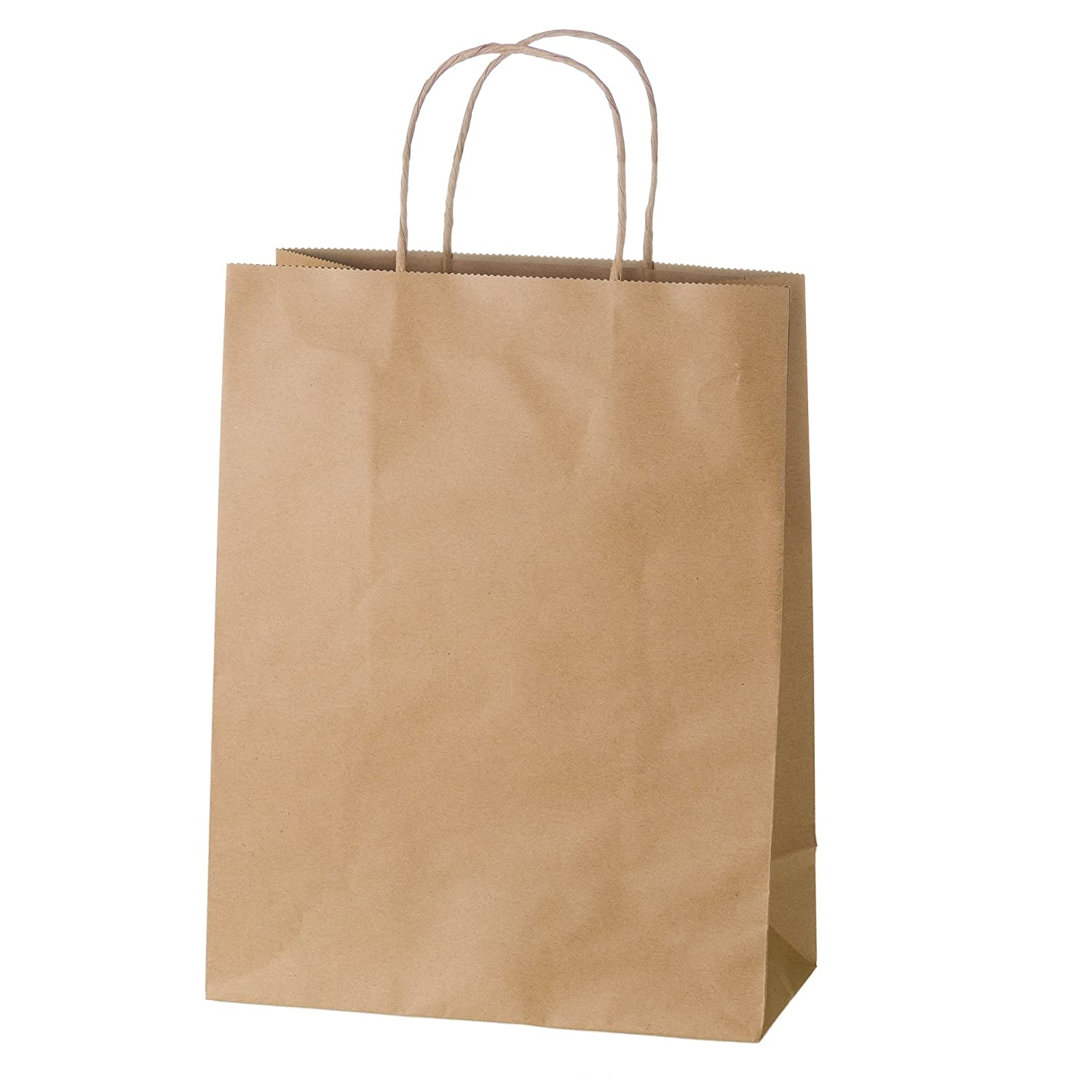 Premium Kraft Paper Boutique Bags with Handles for Wedding, Party Favour, Thank You, and More, Kraft-Coloured Gift Bags, 8 L x 5 W x 8 H (25 Count) - Creative Bag White Label 2A0719