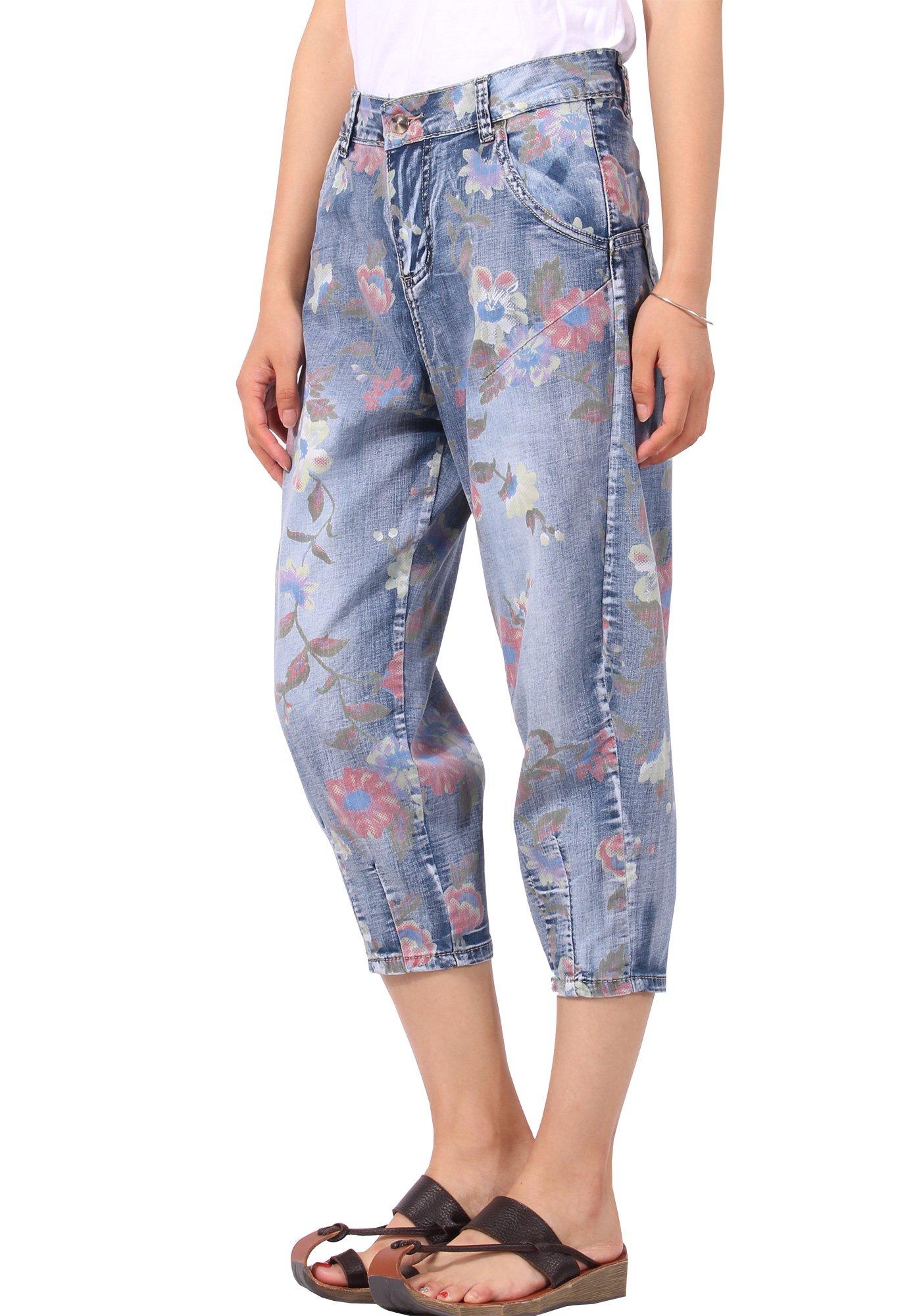 JeansForest Women Summer Printed Cropped Capri Denim Jeans Harem Pants