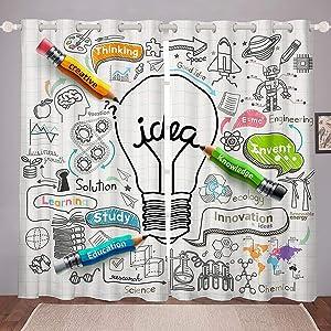 Science Window Drapes School Theme Window Curtains Brainstorming Good Ideas Curtain Panels For Kids Boys Girls Study Innovation Education Knowledge Window Treatments Living Room Decor 42W