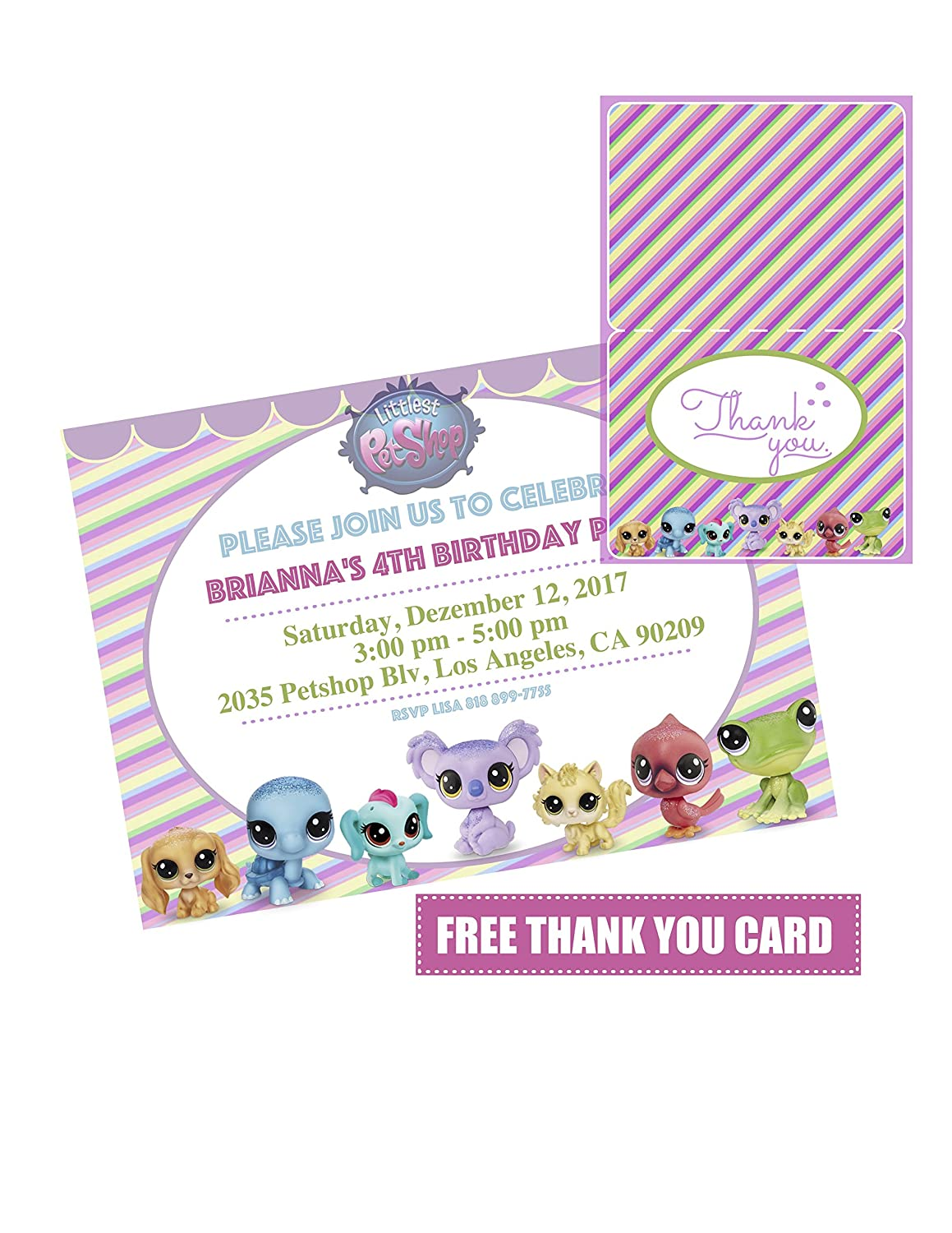 Amazon.com: 14 Littlest Pet Shop Birthday Party Invitation ...