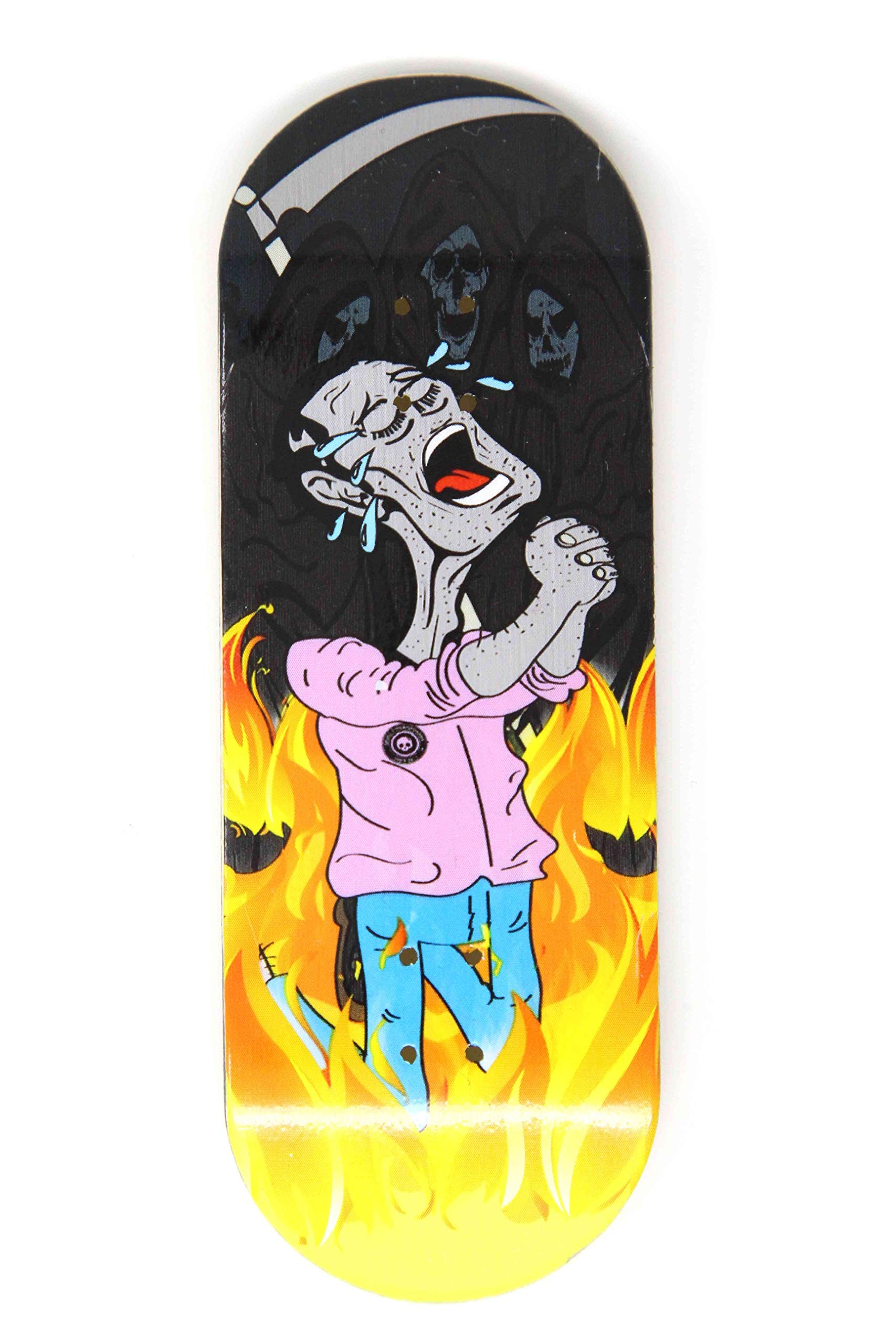 Skull Fingerboards Burning Man 34mm Complete Professional Wooden Fingerboard Mini Skateboard 5 PLY with CNC Bearing Wheels by Skull Fingerboards (Image #2)
