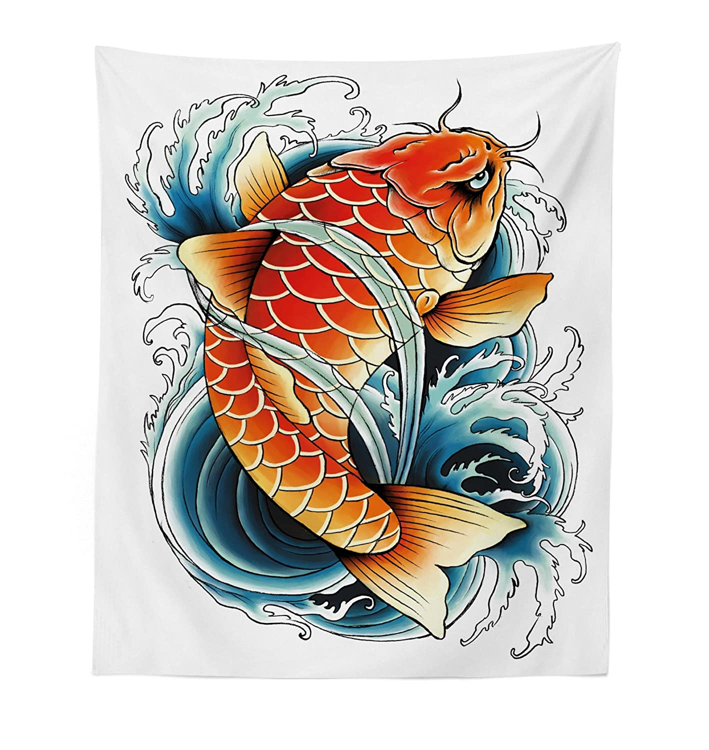 """Lunarable Koi Fish Tapestry, Tattoo Styled Drawing of Angry of The Japan Culture, Fabric Wall Hanging Decor for Bedroom Living Room Dorm, 23"""" X 28"""", Petrol Blue"""