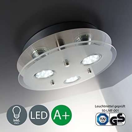 Lámpara de techo I Lámpara LED de techo de cristal I 3 bombillas de 3 W