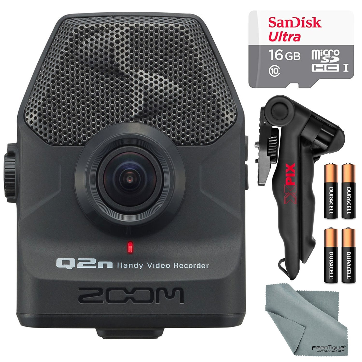 Zoom Q2n Handy Video Recorder Bundle with Tripod + 16 GB SD Card + AA Batteries + Fibertique Cleaning Cloth Photo Savings 4334433839
