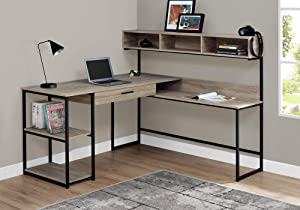 Monarch Specialties Workstation for Home & Office with Multiple Shelves and Drawer L-Shaped Corner Desk with Hutch, 60