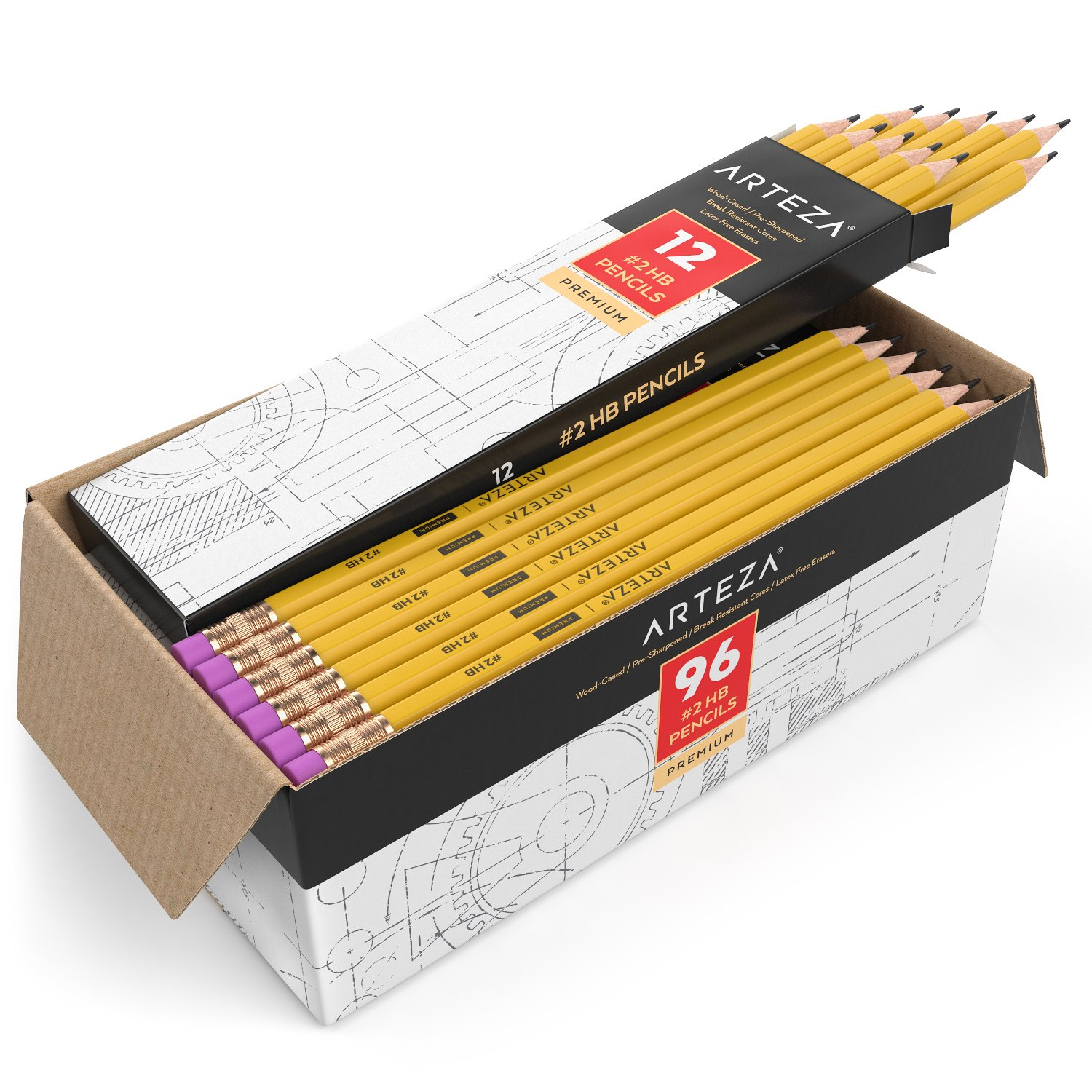 ARTEZA #2 HB Wood Cased Graphite Pencils, Pack of 96, Bulk, Pre-Sharpened with Latex Free Erasers, Bulk pack, Smooth write for Exams, School, Office, Drawing and Sketching by ARTEZA