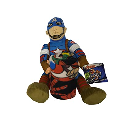 Marvel Captain America Plush Figurine Doll and Blanket Throw Gift Set: Toys & Games