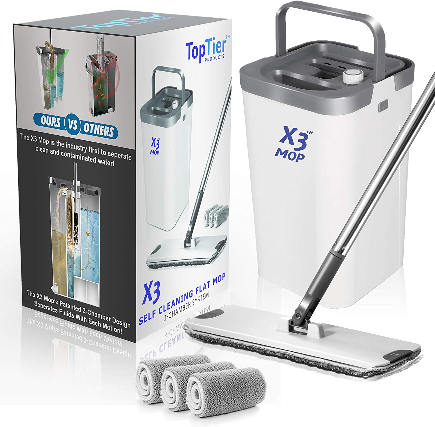 Top Tier Products X3 Flat Mop and Bucket System, 3-Chamber Design, Hands Free Self Cleaning System, 3 Washable & Reusable Microfiber Pads Included