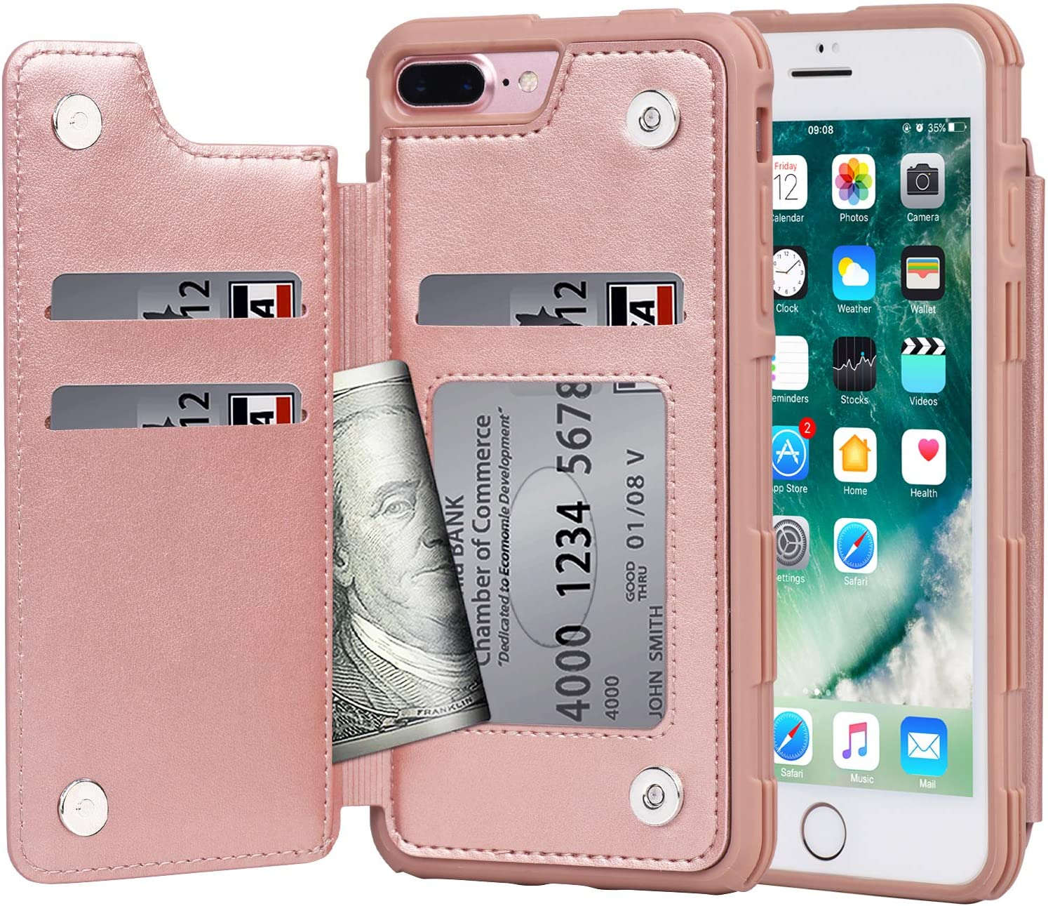 Arae Case for iPhone 7 Plus/iPhone 8 Plus - Wallet Case with PU Leather Card Pockets [Shockproof] Back Flip Cover for iPhone 7 Plus / 8 Plus 5.5 inch (Rosegold)